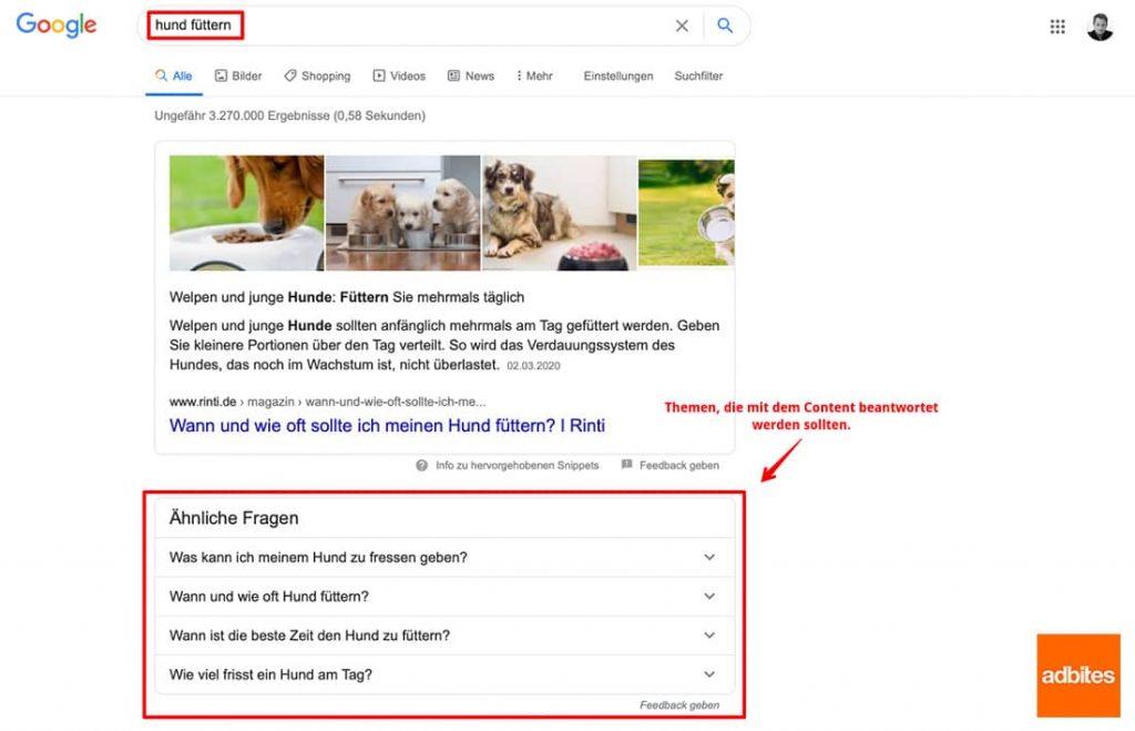 Suchfeatures beobachten, um Content Ideen zu sammeln.