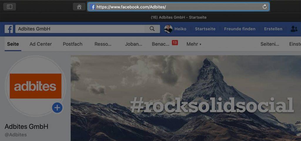 URL zur Facebook Seite ermitteln, um Ihre Agentur hinzufügen zu können.