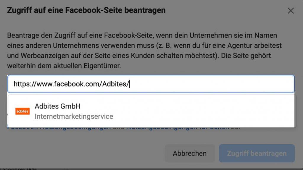 URL zur Facebook Seite eingeben und den Zugriff beantragen.