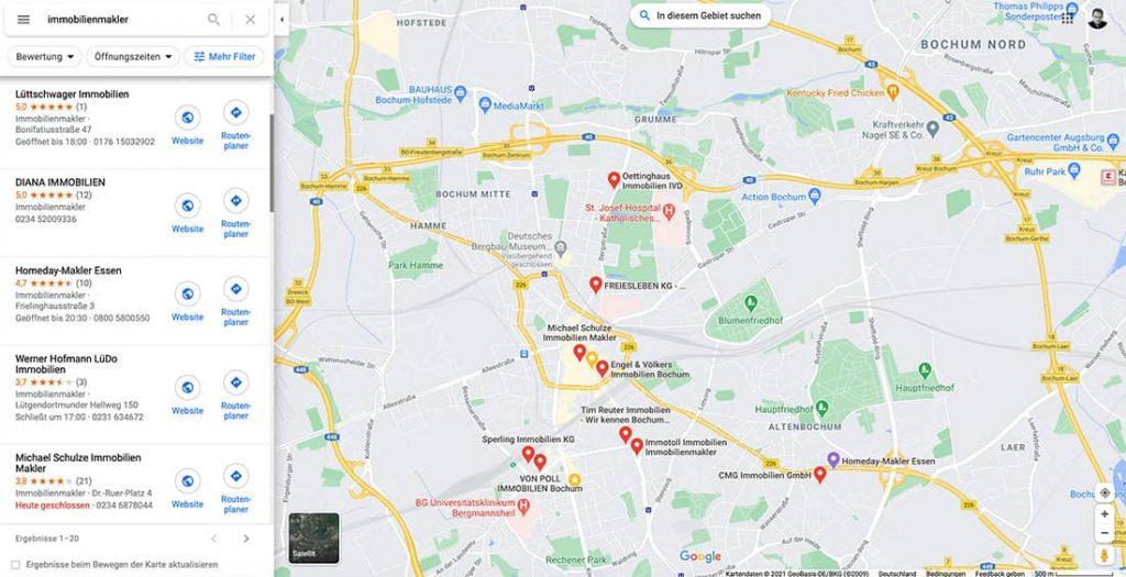 Geschäftseinträge in Google Maps