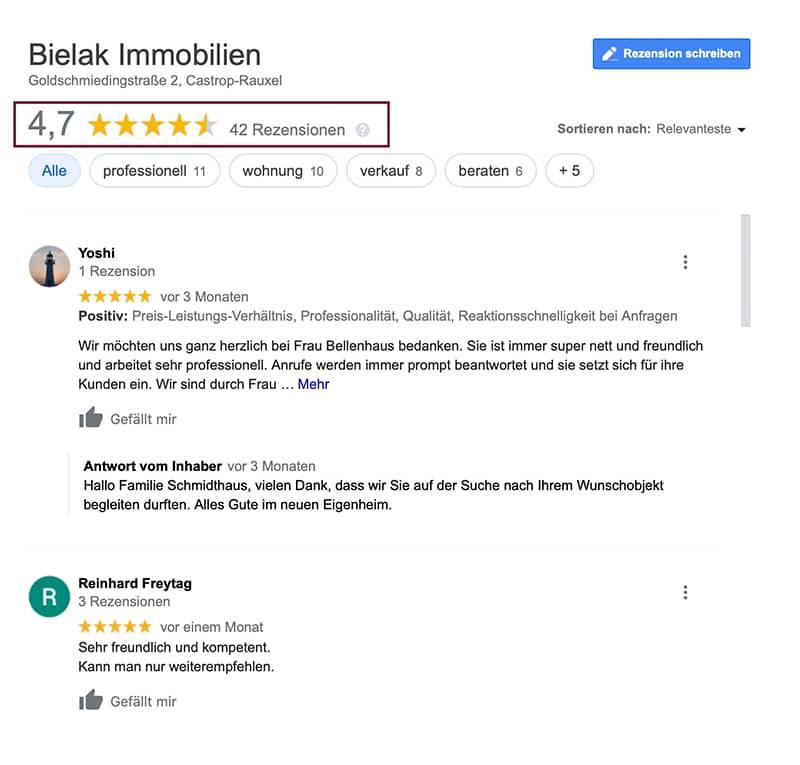 Google Bewertungen im My Business Eintrag